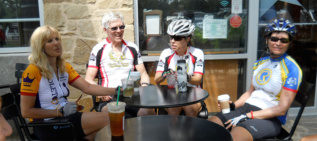 Judy, George, Laura, and Penny unwind after the ride.