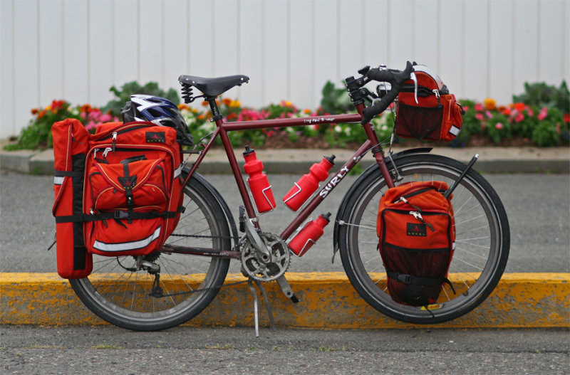 A Surly Long Haul Trucker, fully loaded for a tour.