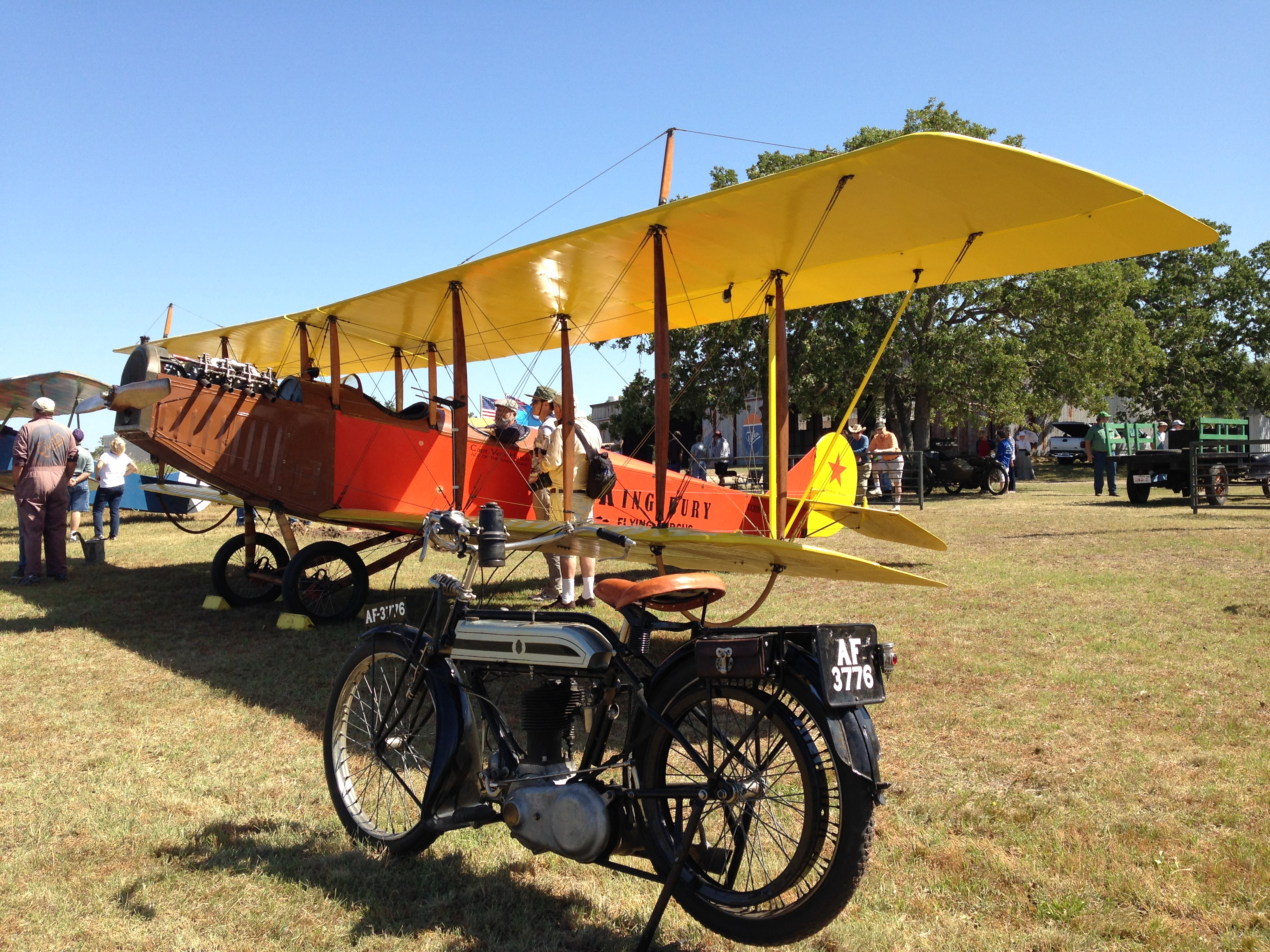 "A Canadian-built Curtiss Jenny, called the ""Canuck."" This one is real, not a replica. Apparently, a lot of the Canadian Jennys found their way to Texas flight schools after WWI. It's painted like a 1920s barnstormer."