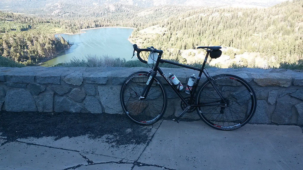 A stop during the final descent to grab a photo of my bike there.