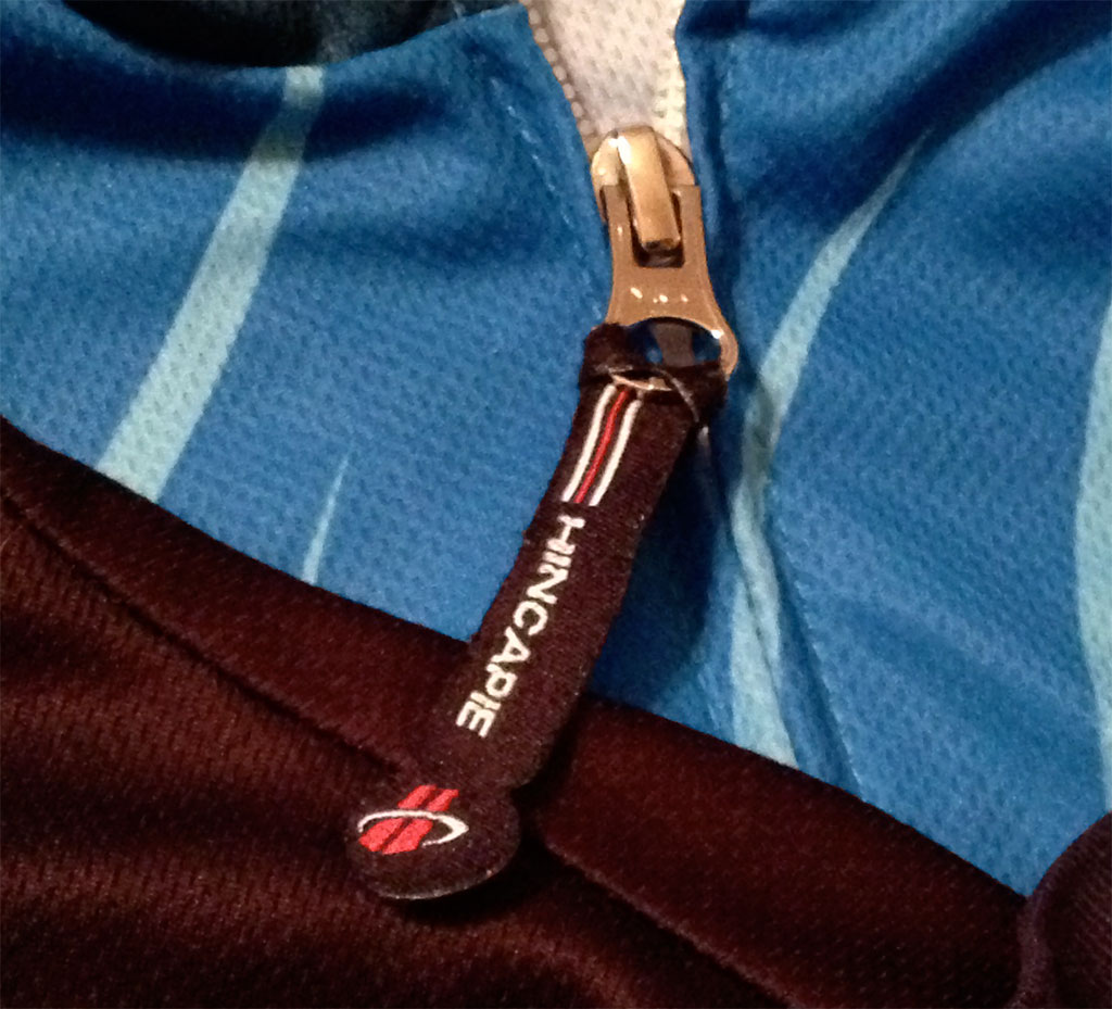 The pull tab on the Hincapie zipper. I wish there were holes on my other zipper pulls so I could thread some tabs on them, too.